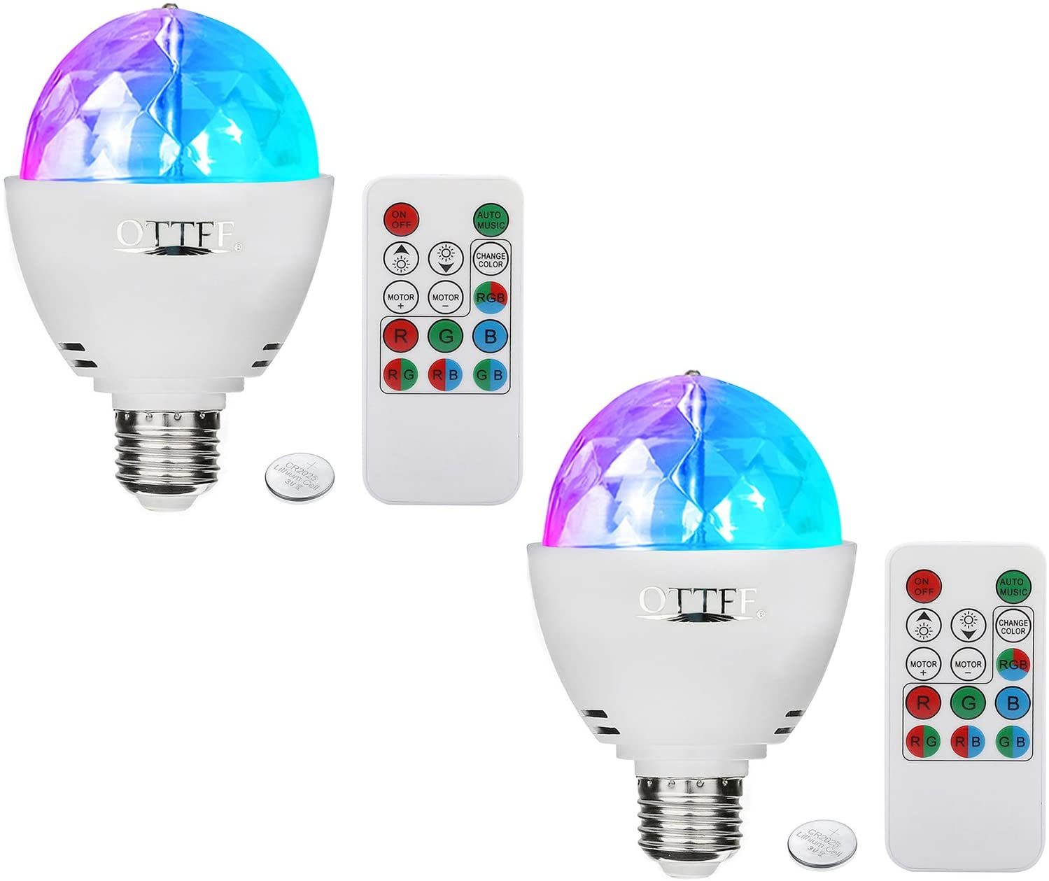 OTTFF Dimmable E27 RGB LED Party Lighting Bulb Disco DJ Stage Bar Xmas Effect with Remote Control(2 Pack)
