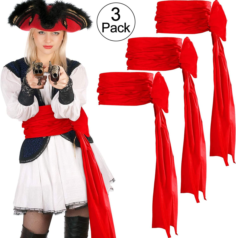 SATINIOR 3 Pieces Pirate Sash Halloween Belt Sash Medieval Sash, 118 Inch Long