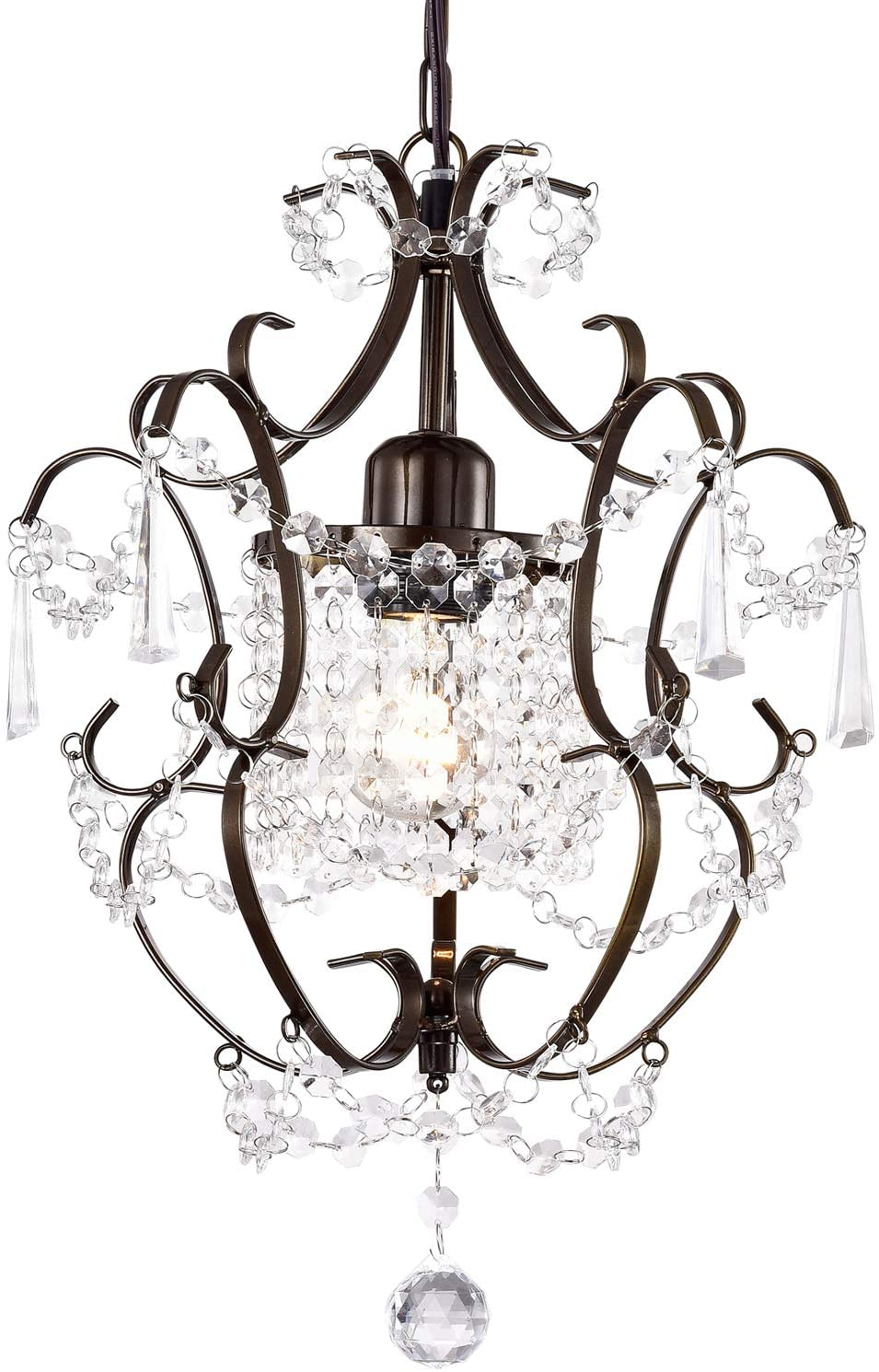 Bronze Chandelier Mini Crystal Chandelier Lighting Small Chandelier 1 Light Chandeliers with Acrylic Crystals Farmhouse Pendant Light Fixture Easy Assembly