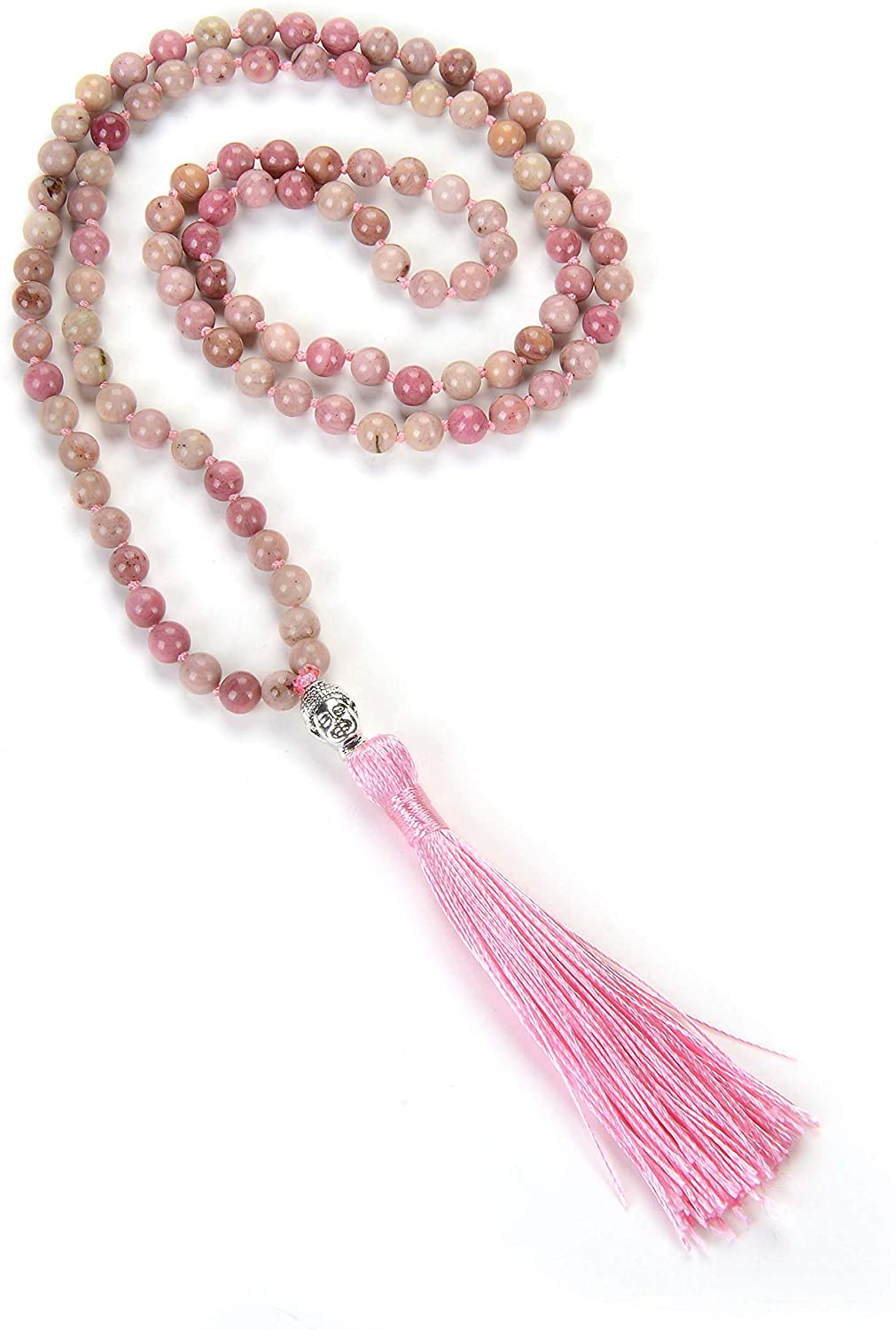 Self-Discovery 108 Mala Beads Yoga Necklace, Tassel Necklace Pink, Red, Brown, Blue, Black, White for Women