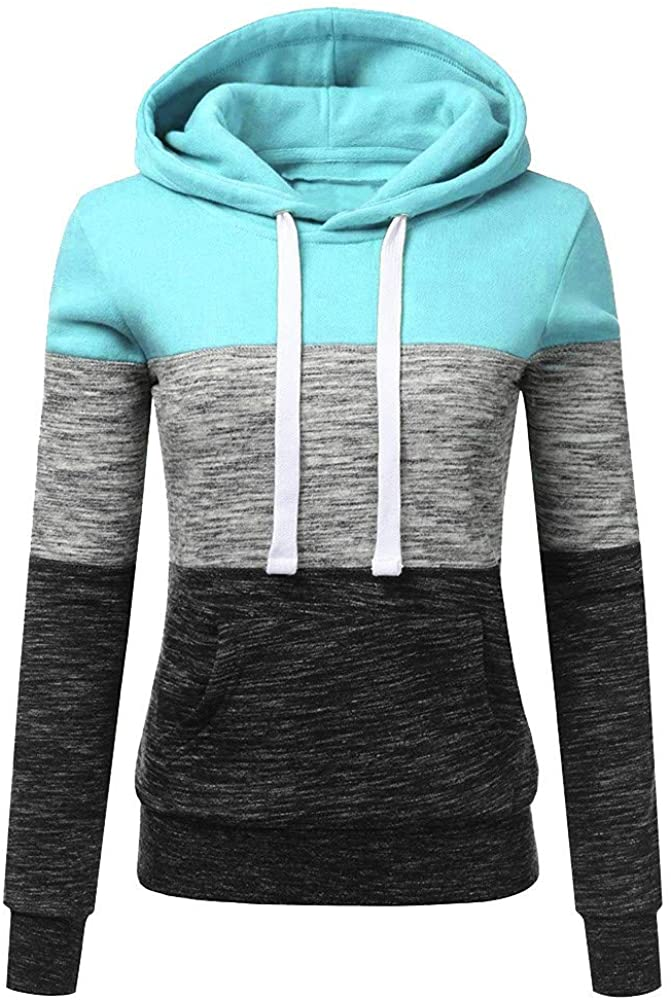 Womens Hoodies, Women Color Block Long Sleeve Hoodies Pullover Sweatshirts Blouse Casual Drawstring Hooded Tops