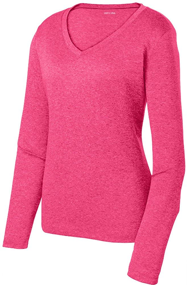 Joe's USA Ladies Athletic Heather Moisture Wicking Long Sleeve V-Neck T-Shirts in XS-4XL