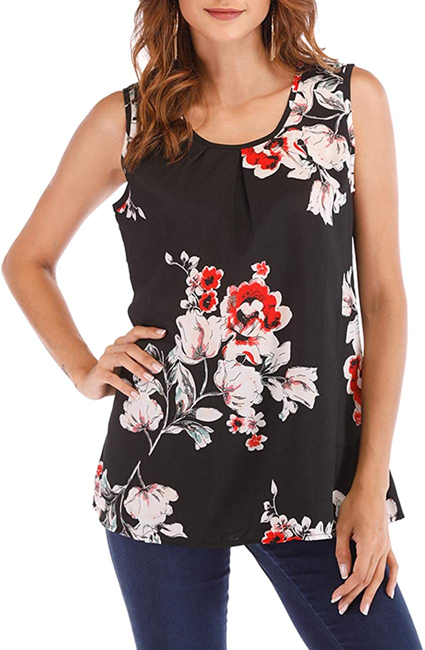 Women's Plus Size Sleeveless Floral Print Loose Casual Tunic Tank Top Round Neck Chiffon Blouse Top
