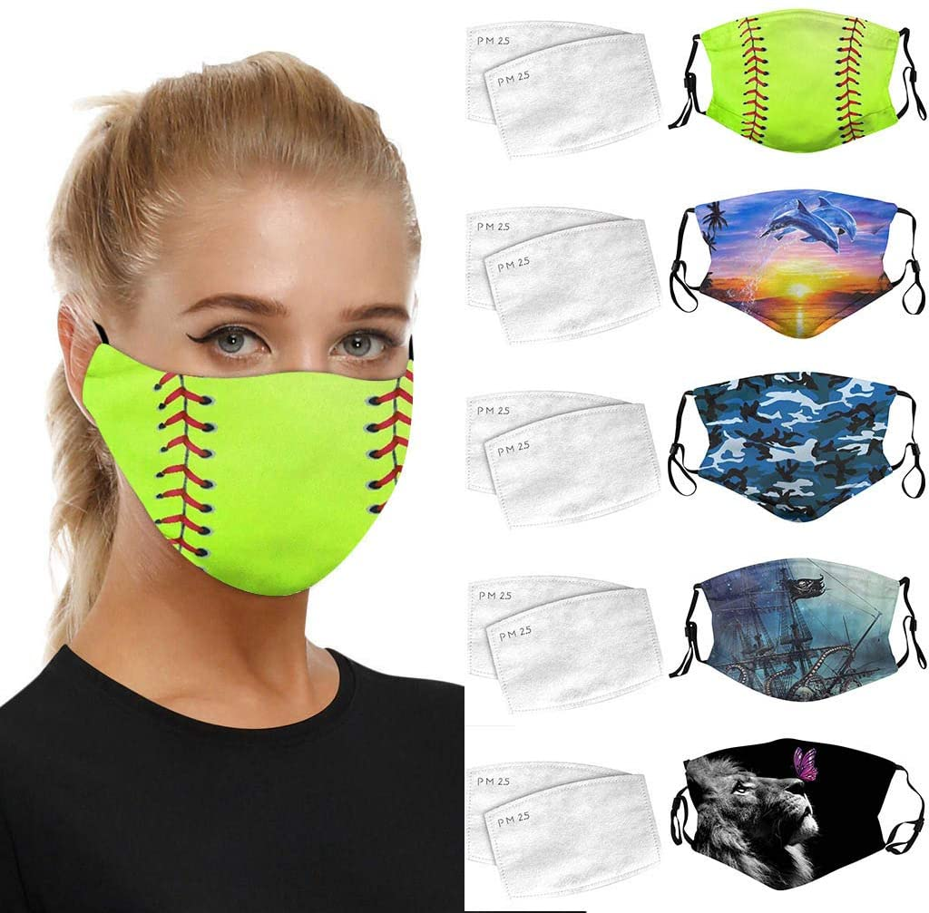 5 PCS Adults Reusable Washable Printing Face Bandanas,Breathable Earloop Outdoor Scarf 5 PC Shield 10 PC Filter