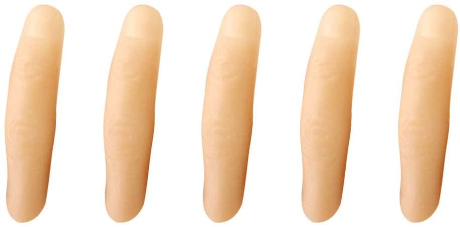 Amosfun 5Pcs Halloween Fake Finger Soft Thumb Tip Magic Trick Finger Stage Show Prop Prank Toy