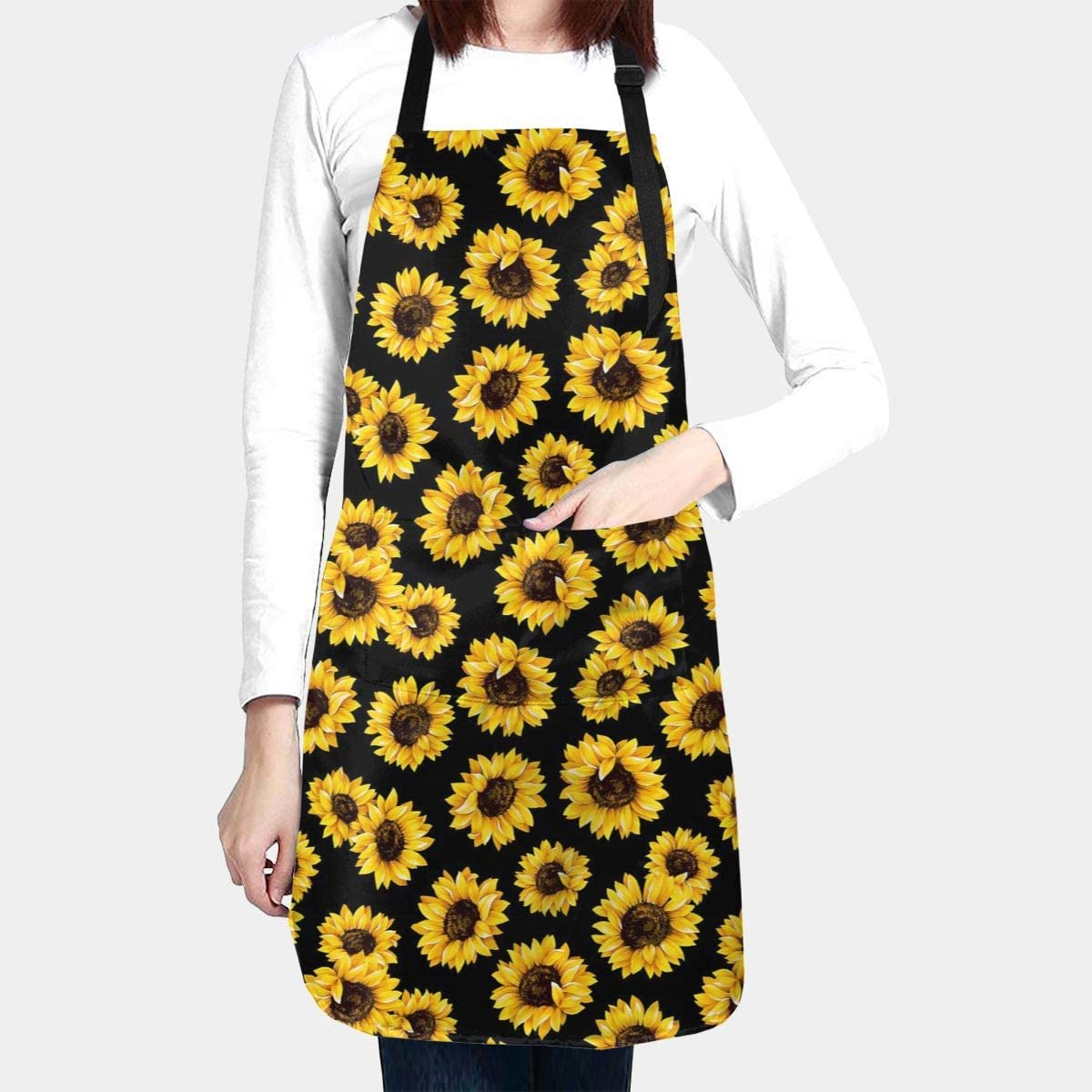 ZJBLHEQ Hipster Golden Sunflowers Adult Kitchen Apron with 2 Pockets Adjustable Ties Waterproof Chef Bib Fit Cooking Baking Drawing BBQ for Women Men
