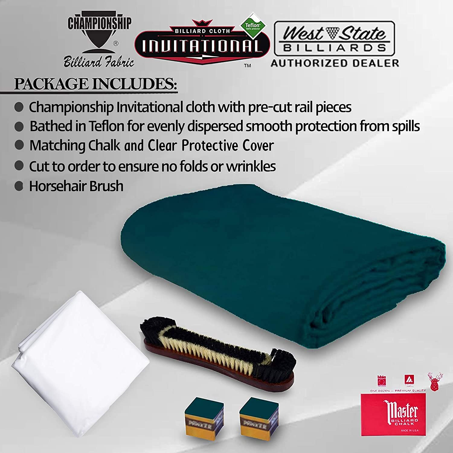 Championship Invitational Pool Table Cloth Replacement Set for 8 FT Pool Tables Billiard Table Felt Bathed in Teflon with Horsehair Brush - Chalk - 6 pre-Cut Rail Pieces – Table Cover