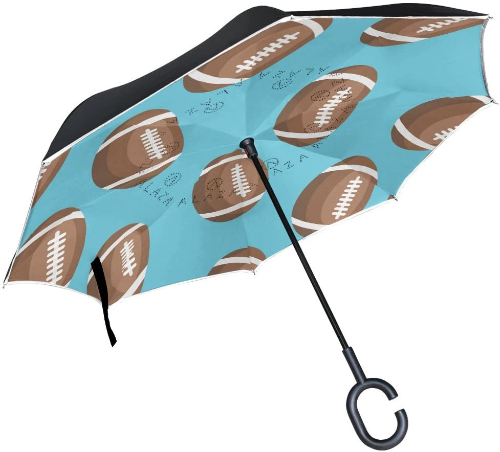 Double Layer Inverted Umbrellas Reverse Folding Umbrella American Football Windproof for Car Rain Outdoor with C-Shaped Handle