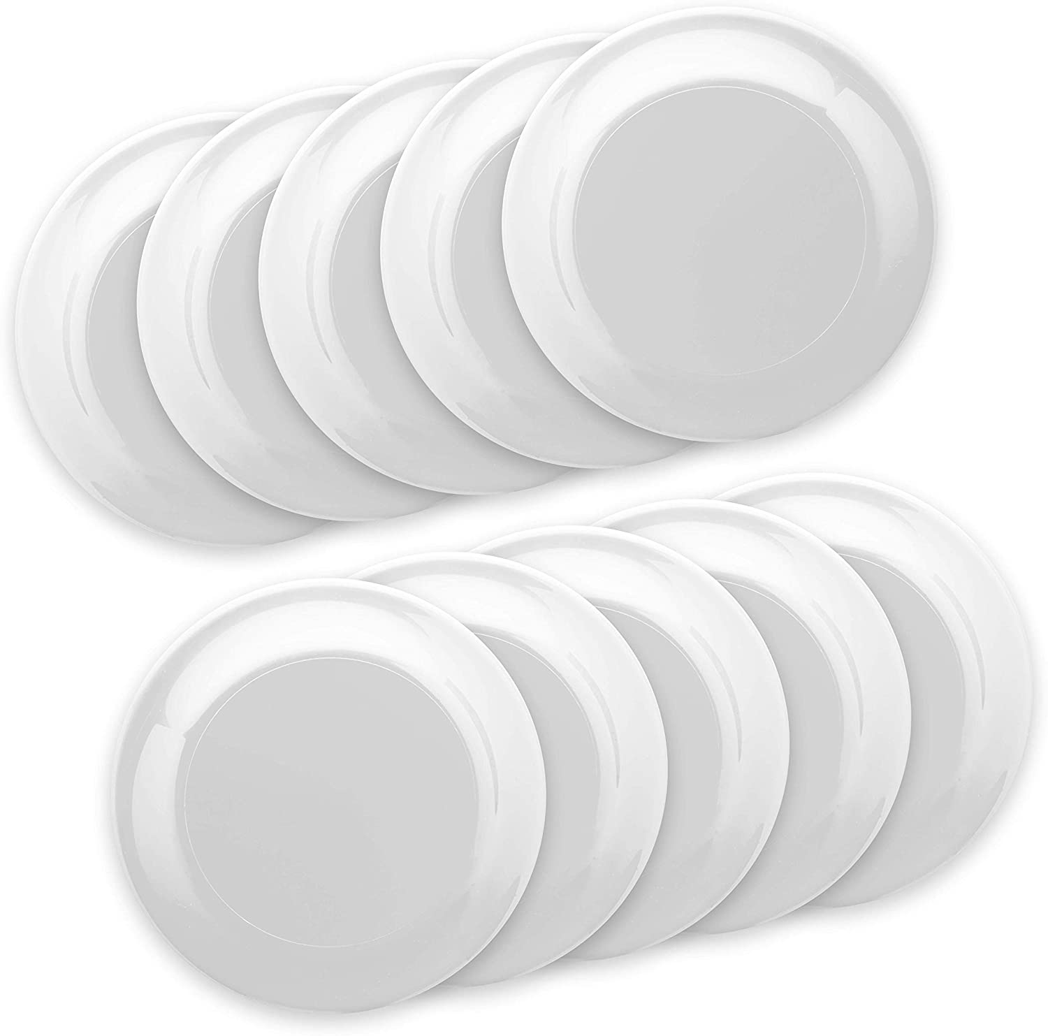 Frisbee Flying Discs - 10 pack - 9.25 in. Ultimate Frisbee Beach Sports Backyard Disc Golf Game - White