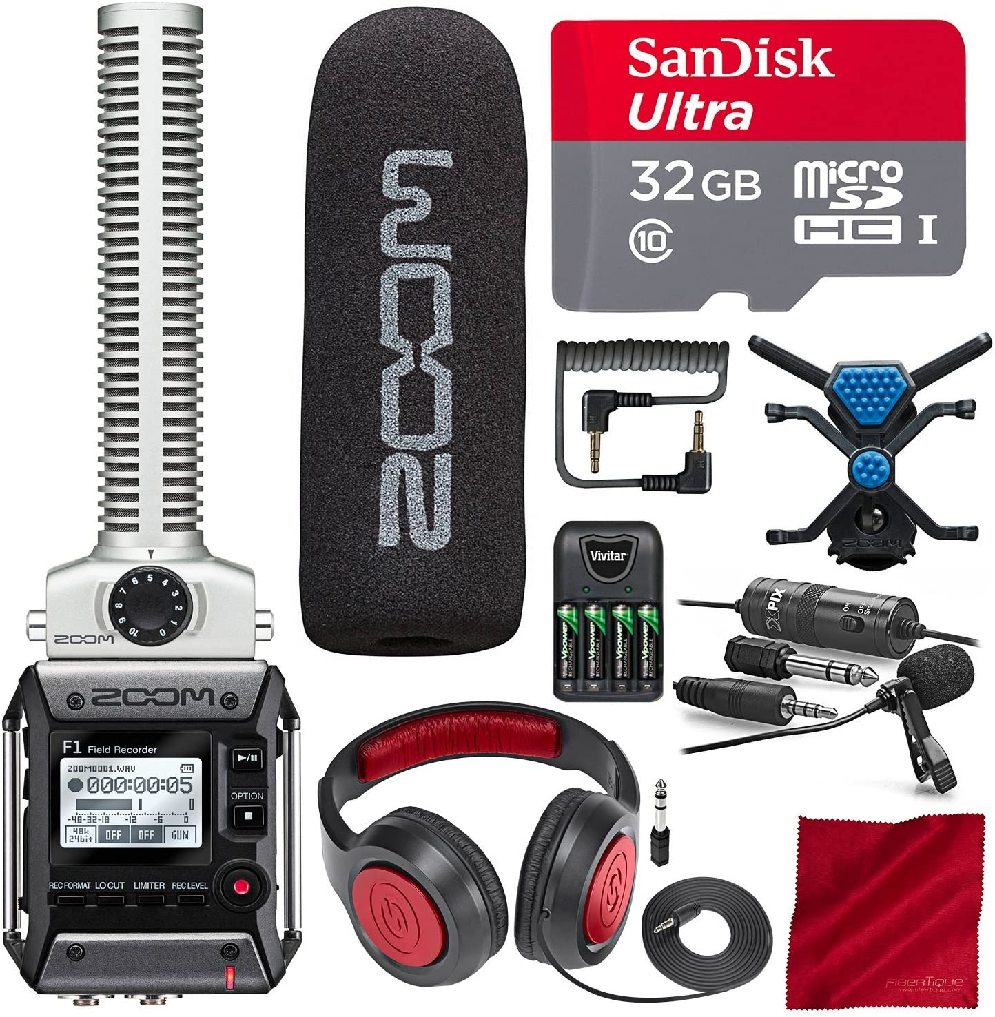Zoom F1-SP Field Recorder with Shotgun Microphone F1-SP Package with 32GB Card, Samson Headphones, Xpix Lavalier Mic, and Platinum Bundle