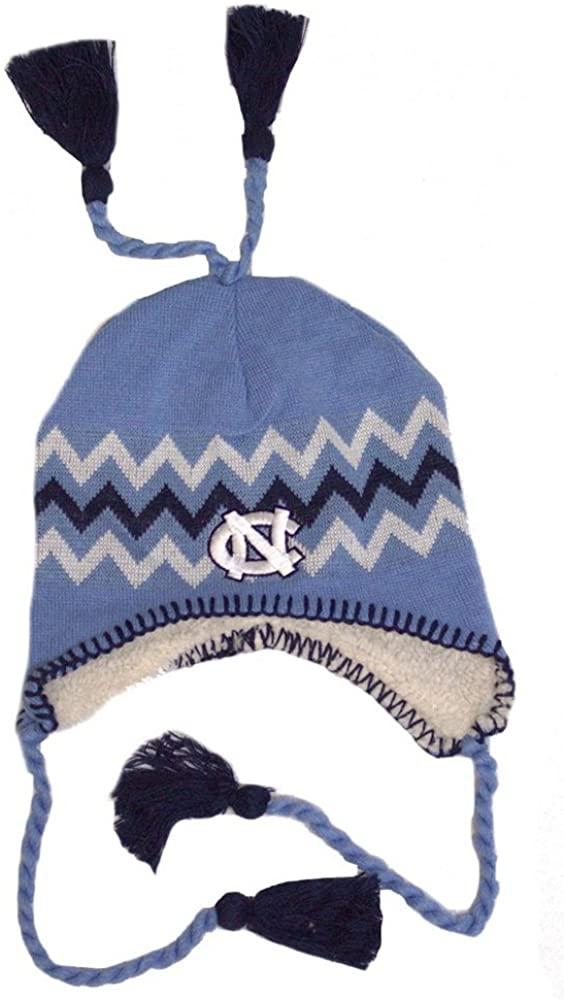 NCAA Licensed Sherpa Lined Tassel Beanie Hat Cap Lid Skull (North Carolina Tar Heels)