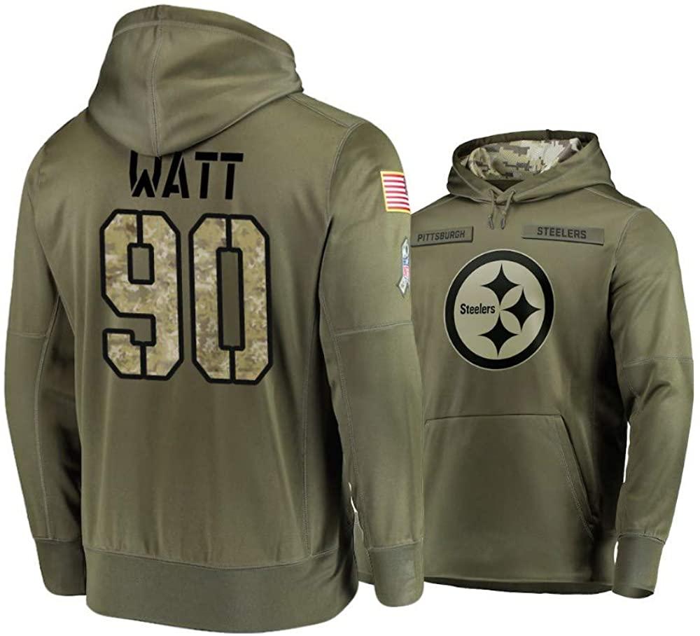 Dunbrooke Apparel Pittsburgh Steelers #90 T.J. Watt Mens Salute to Service Hoodie - Olive