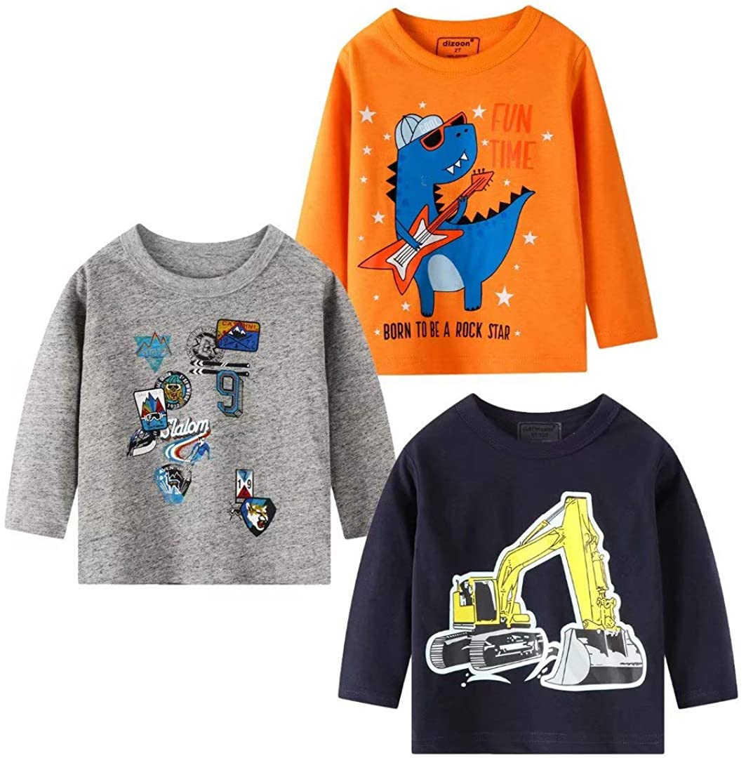 HMBEIXYP Toddler Boys' 3-Pack Graphic Long-Sleeve T-Shirts Cotton Dinosaurs Shirts