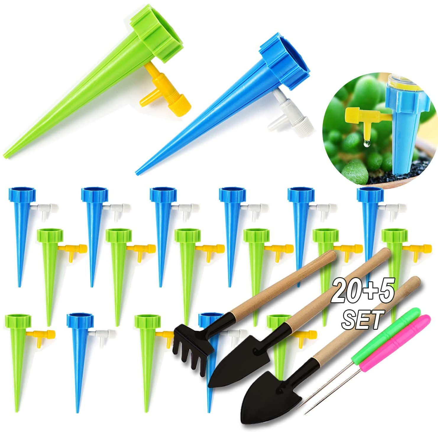 SPROUTER 20 Self Watering Spikes Set, Vacation Self Watering Device with Adjustable Control Valve Switch, Auto Drippers Irrigation Devices for Houseplant Indoor Plant, Officeplant,3 Garden Tools