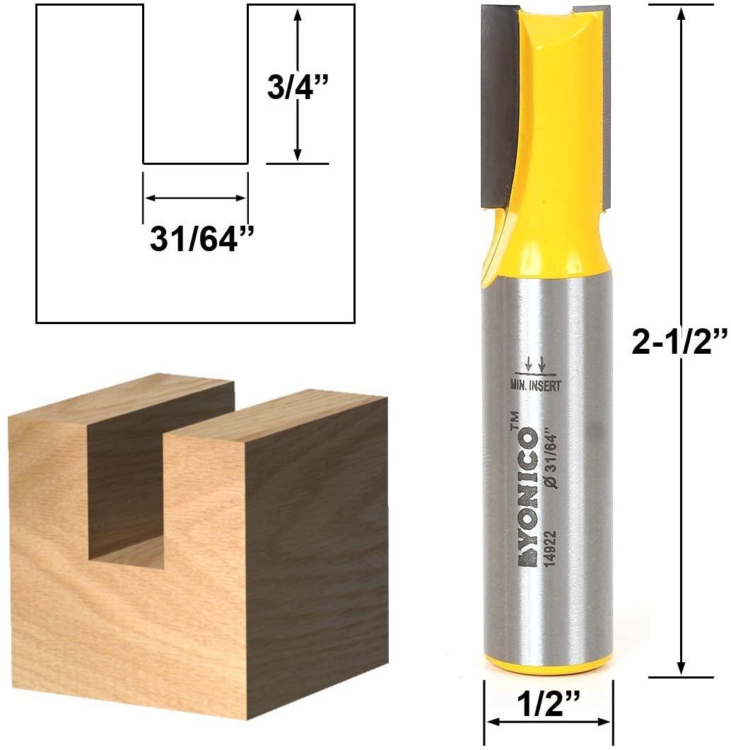 Yonico 14922 31/64-Inch Undersized Plywood Straight Dado Router Bit 1/2-Inch Shank