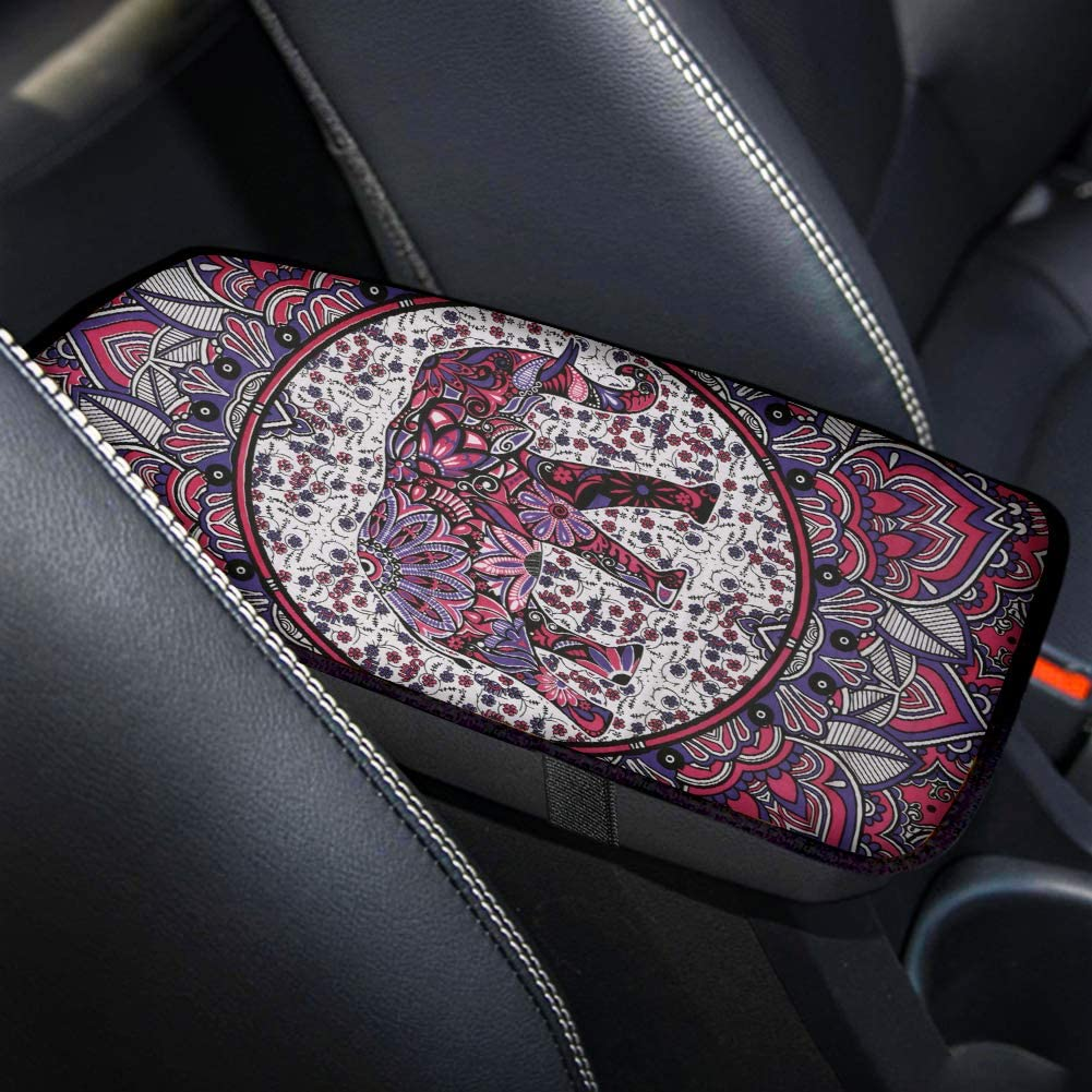 Aoopistc Boho Mandala Hippie Elephant Car Armrest Covers for Automobiles Seat Box Scratchproof Heavy Dust Center Console Pad Universal Fit Most Sedan Van Elastics Band Backing (Pink)