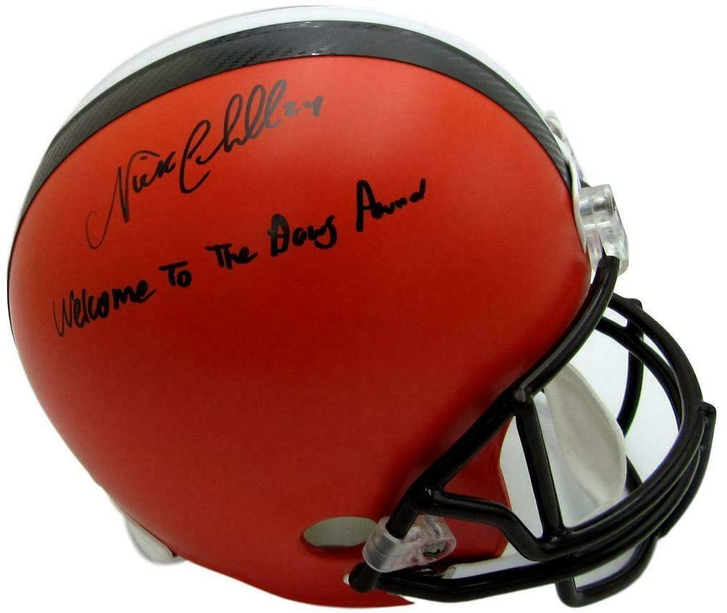 Nick Chubb Cleveland Browns Signed Replica Full Size Orange Helmet JSA 143009 - Autographed NFL Helmets