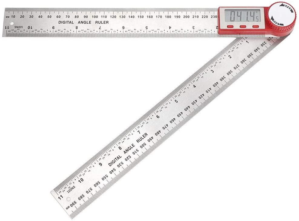 Measuring Ruler, Electronic Ruler, Stainless Steel LCD 360 Degree Angle for Length Measuring Angle Measuring(0-300mm)