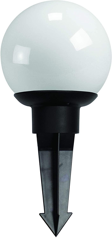 Solus SG408-LV8W-BWS Garden Globe LED Pathway & Area Light, Stake Included, 3,000K Warm White Lighting, 12V, 8 Watts, White Globe & Black Cast Aluminum Fitter