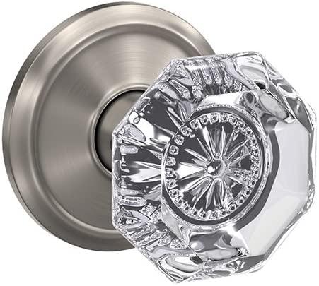 Schlage Custom FC21 ALX 619 ALD Alexandria Glass Knob with Alden Trim Hall-Closet and Bed-Bath Lock, Satin Nickel