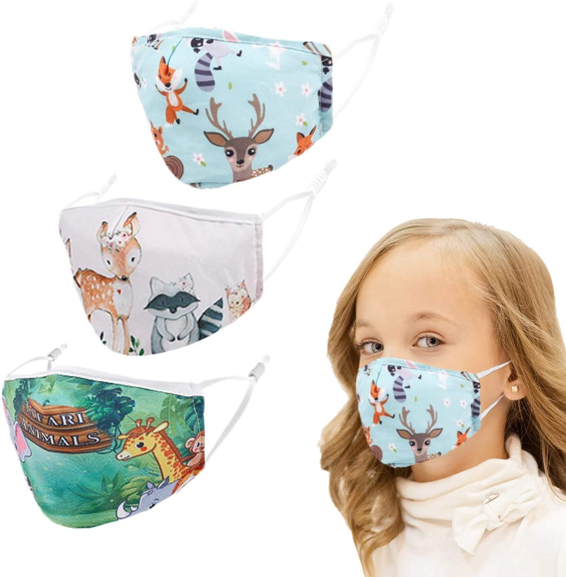 Woplagyreat 3 Pcs Face Cloth Masks for Kids, Comfortable Protective Cute Masks, Reusable & Washable