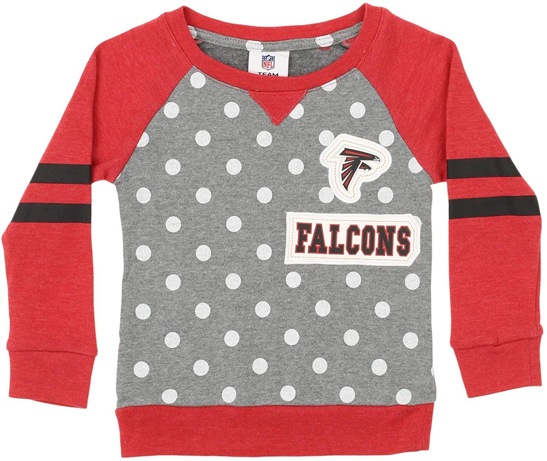 OuterStuff NFL Little Girls (4-7) Team Logo and Polka Dot Print Long Sleeve Crew, Atlanta Falcons Medium (5-6)
