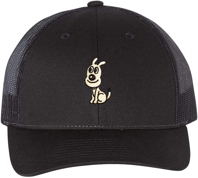 Baseball Caps 2 Pack Black Embroidered Cute Puppy Trucker Hats Hip Hop with Design Snapback Hat