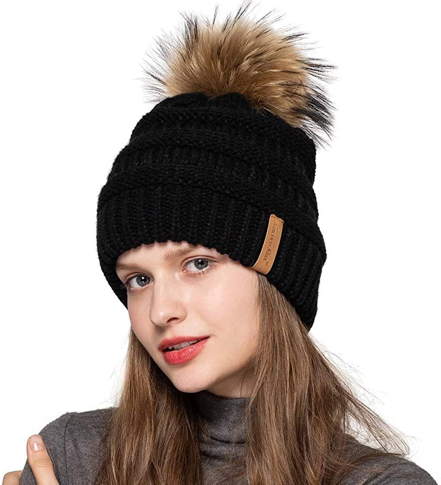 Jancoco Max Women Winter Knitted Beanie Pompom Hat Warm Solid Skull Ski Caps Real Raccoon Fur Ball Furry Acrylic