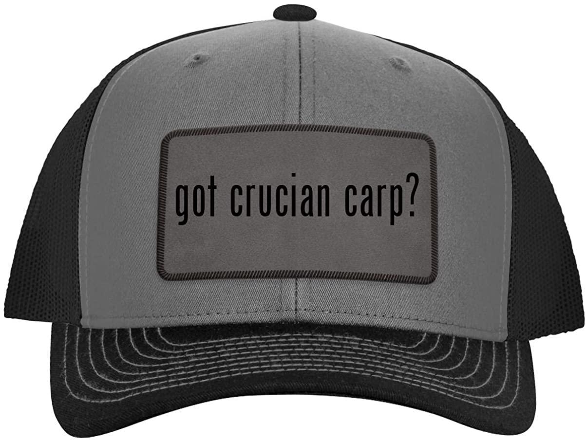 One Legging it Around got crucian carp? - Leather Grey Patch Engraved Trucker Hat