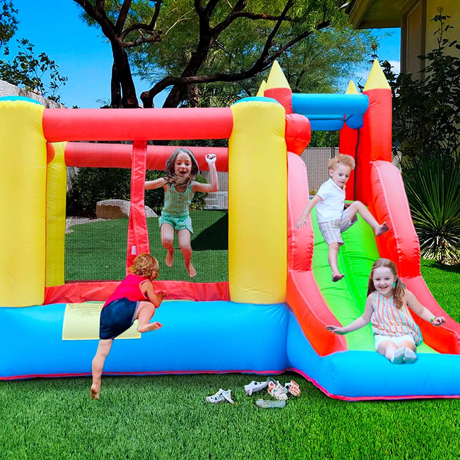 Inflatable Bouncer 6 in 1 Kids Jumping Castle with Blower Long Slide Jump Area Basketball Rim Ball Pool Indoor Outdoor Backyard Bouncy House Durable Sewn Thicken Material US Fast 7-10 Days Delivery