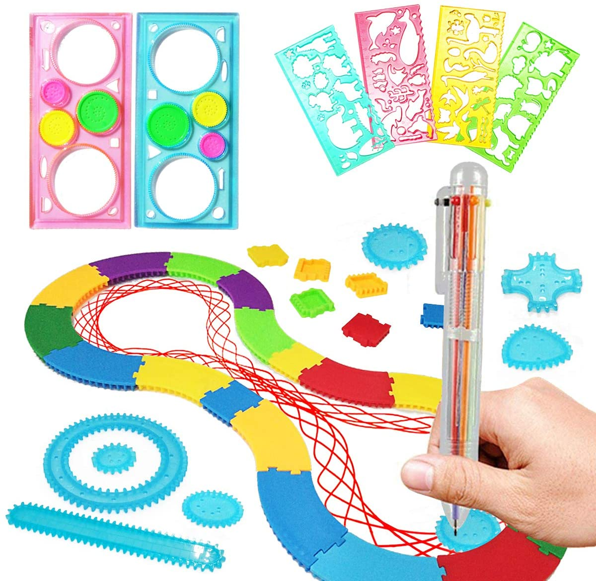 MIMIDOU Spiral Designer Freestyle Design Deluxe Kit, kids drawing aid art design stencil set include multicolored gel pen, spiral shapes and geometric templates 17 pcs.