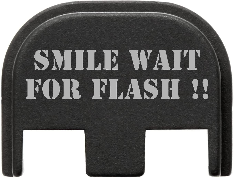 for Glock Gen 5 Back Plate 9mm 17 19 19x 26 34 Black NDZ Smile Wait for Flash 2 Line Stencil