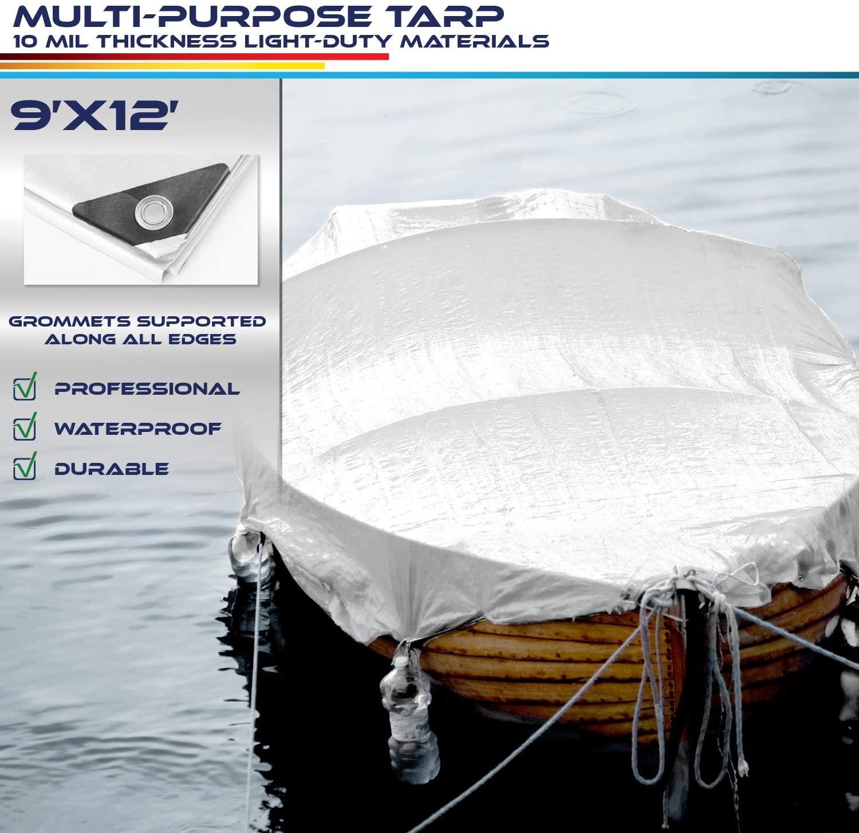 Windscreen4less 9' x 12' Heavy Duty 10 Mil Waterproof White Poly Tarp