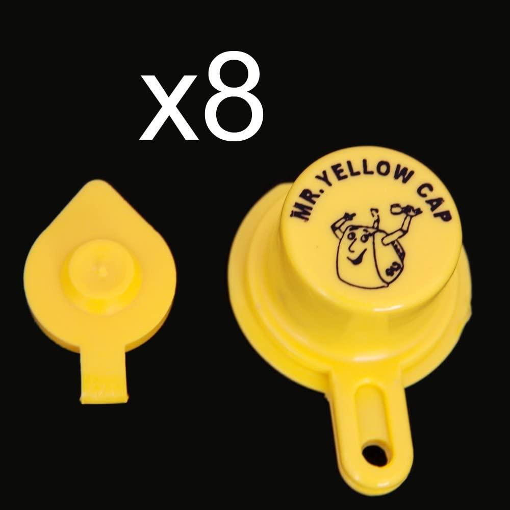 Yellow Gas Can Cap That Fits Your Vintage Blitz Spout - 8 Single Caps & 8 Vents