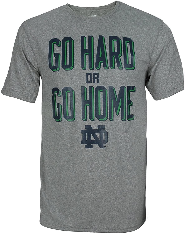 NCAA Mens Notre Dame Fighting Irish Long Sleeve Dri Tek Performance Go Hard Or Go Home Tee Heathered Grey