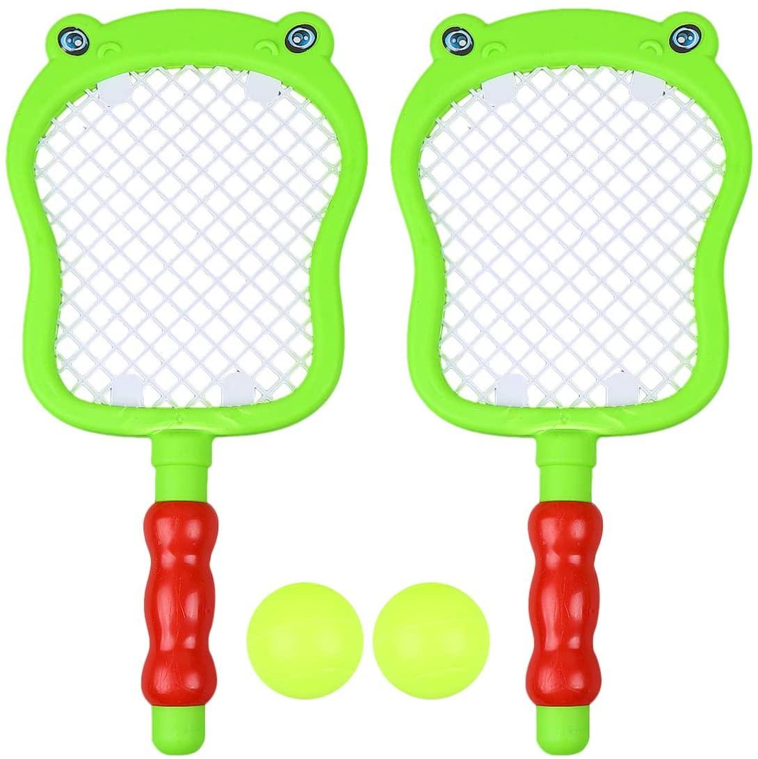 CLISPEED 1 Set Children Sports Badminton Set Tennis Racket and Balls Outdoor Sports Playing Toy Set for Kids Children Toddlers (2pcs Rackets + 2pcs Balls)