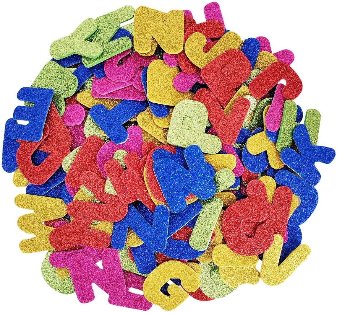 Gnognauq 150 Pcs Self Adhesive Foam Stickers Glitter Foam Stickers Letter Sticker Number Stickers Assorted Colors