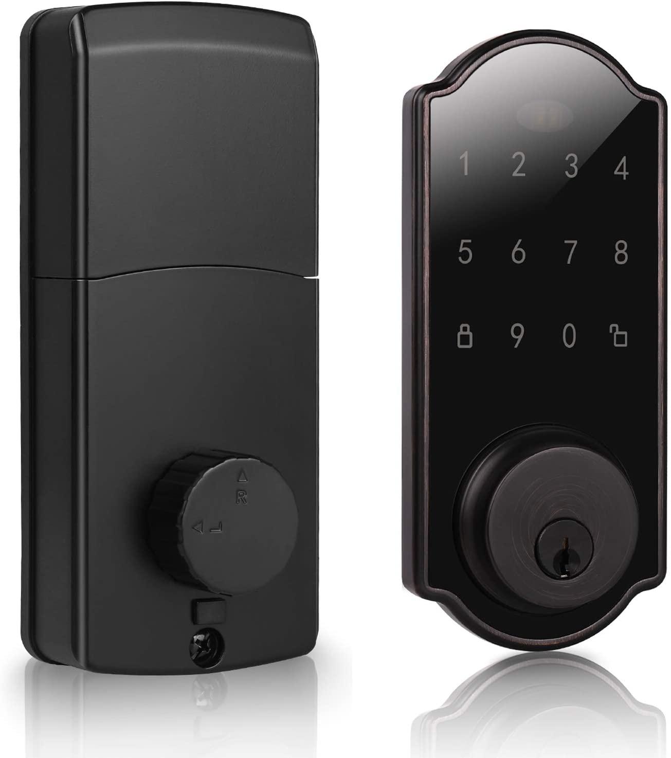 DECORITEN Smart Electronic Door Lock, User Code Touch Screen Keypad Deadbolt Entrance Smart Electronic Digital Door Lock with Keys in Oil-Rubbed Bronze Finish, for Home Hotels Apartment