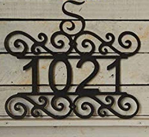 EvyAnn Designs Scroll House Number with Initial, Metal Sign, Mailbox Number, Address Number, Outdoor Wall Art, Number Sign, Door Number, Folk Art, HN1050