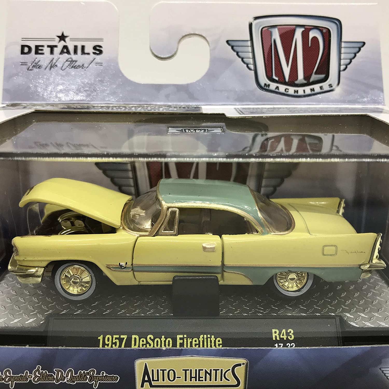M2 Machines 1 of 750 Worldwide Chase Car with Gold Or Special Wheels & Unique Design Auto-Thentics 1957 DeSoto Fireflite R43 17-32 Yellow/Light Green Details Like NO Other! 1 of 750