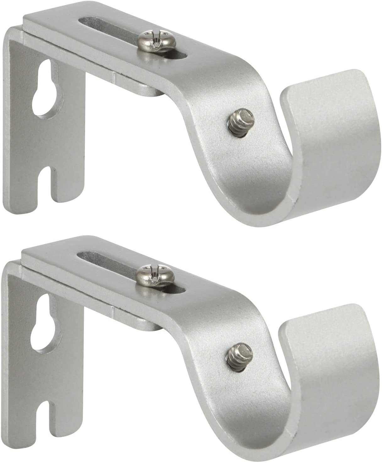 Anndason Heavy Duty Adjustable Curtain Rod Brackets Rod Holders for 1 Inch Rod, Silver Color, (Set of 2)