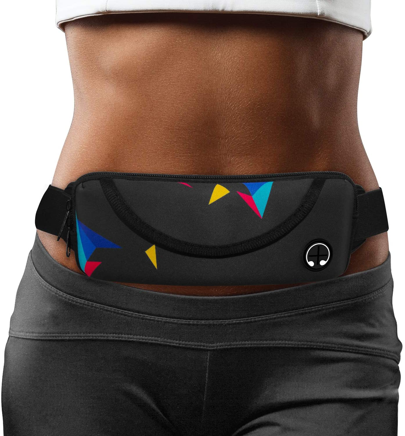 Airoak Running Belt, Ultra Light Bounce Free Waist Pouch Bag, Man&Women Fitness Sport Waist Pack with Two Storage Pockets, Headset Cable Hole, Exercise Waist Bag for iPhone Samsung in Gym Marathon