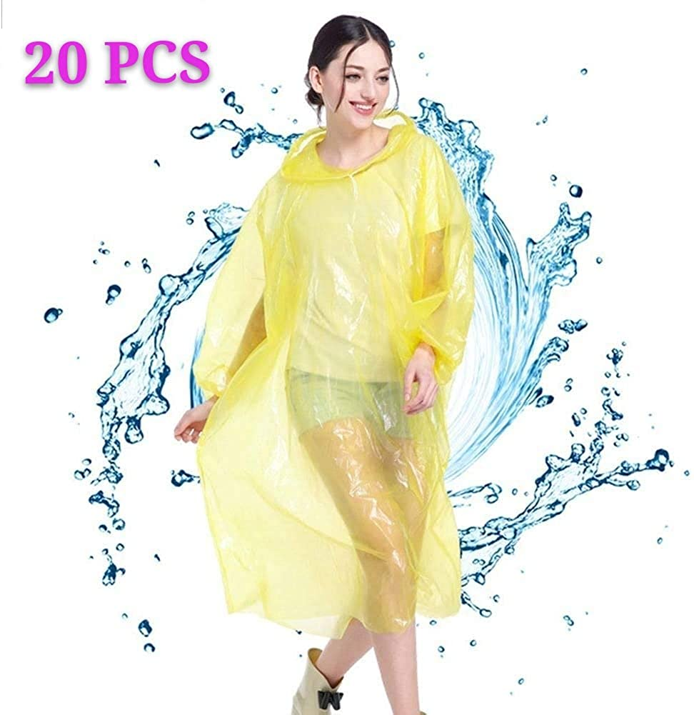 20 Packs Rain Poncho Bulk Pack Disposable Ponchos for Adults Teens for Women Men Emergency Raincoat Family Pack for Theme Parks Camping Outdoors Multi Colors Waterproof Yellow