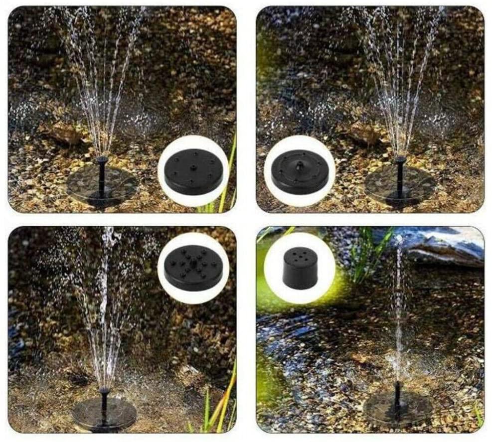 Daana Grant Bird Bath Solar, LED Solar Fountain Pump Bird Bath Water Pump with 4 Spray Pattern Heads for Pond