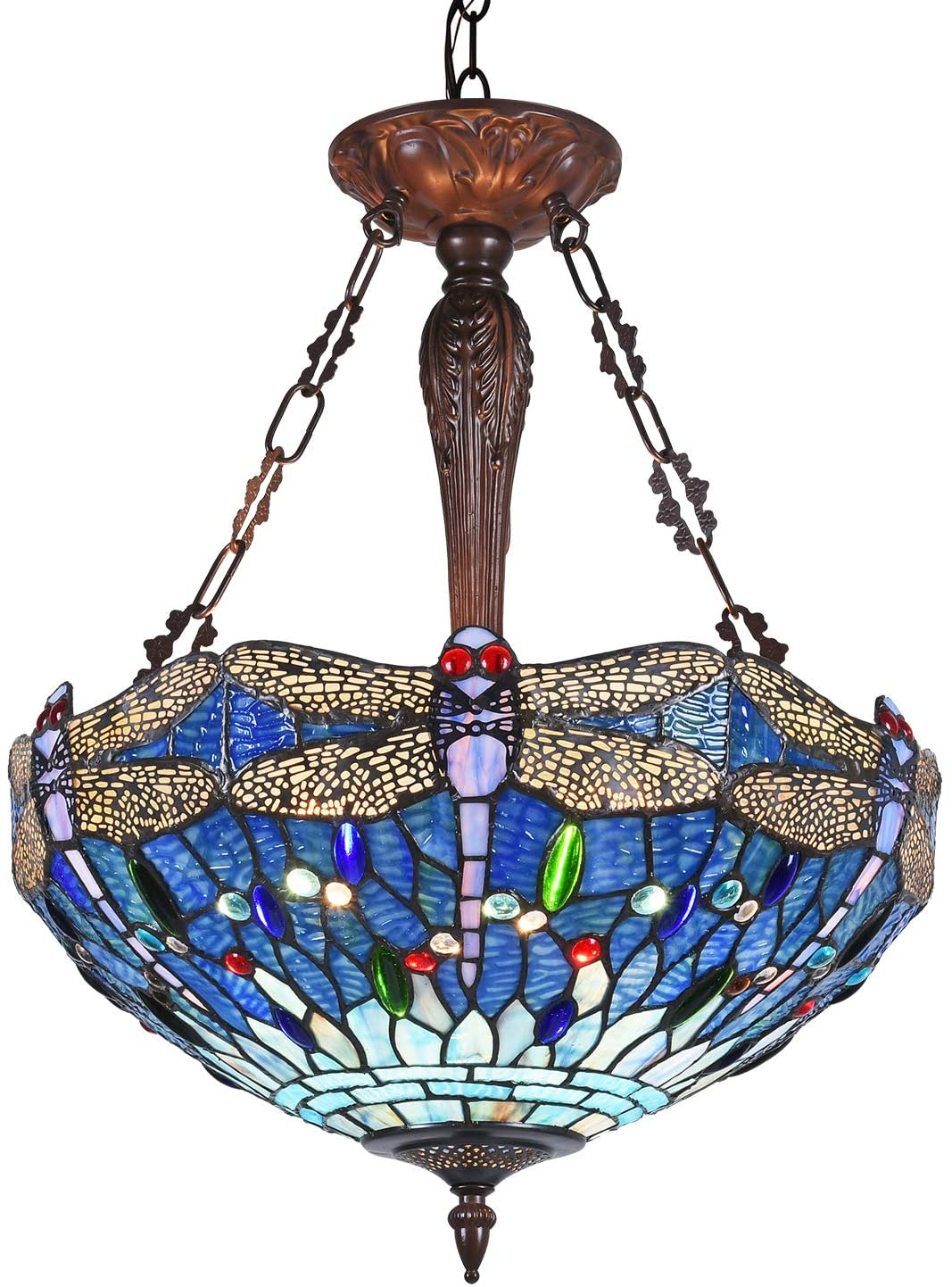 Capulina Dragonfly Design Tiffany Dining Table Lights, 3-Light Hanging Tiffany Style Lamp, 18 Inch Wide Stained Glass Dining Room Lights, Pendant Lights, Tiffany Hanging Light