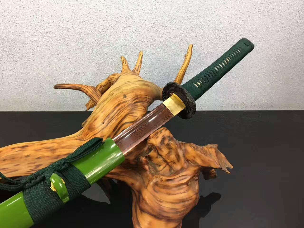 KATANA Samurai Sword, Hand Forged(Folded Steel red Blade,Green Scabbard,Alloy Fittings) Heat Tempered Full Tang Sharp