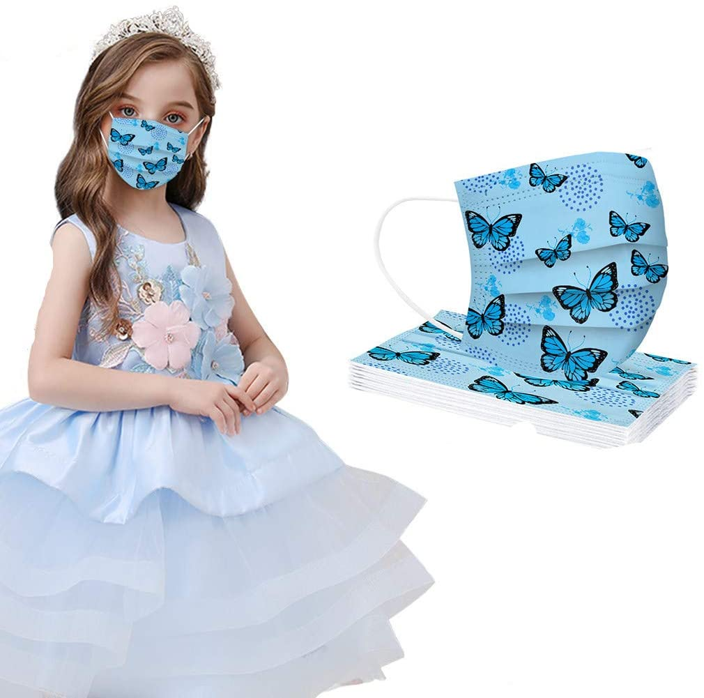 AIHOU 10PCS Kids Disposable Face Mask Boys Girls Breathable Comfortable 3 Ply Earloop Protective Cloth Masks Butterfly Disposable Face Masks Childrens School Outdoor