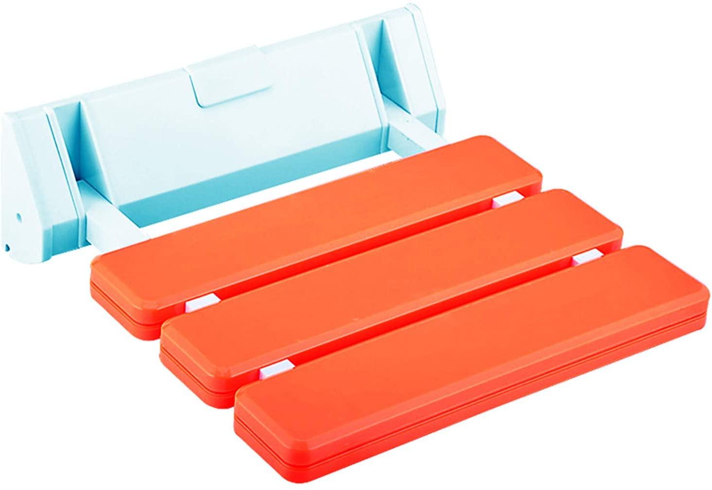 Makidar Folding Shower Seat Bathroom Drop-Leaf Wall Stool (Orange)