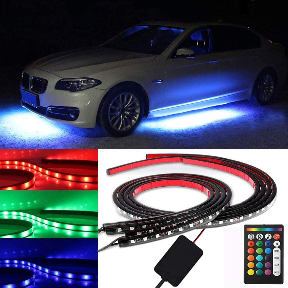 Benxusee Car Underglow Neon Accent LED Strip Lights Kit 4pcs Underglow for Cars Atmosphere Car Lights with 16 Color Sound Active Function and Wireless Remote Control