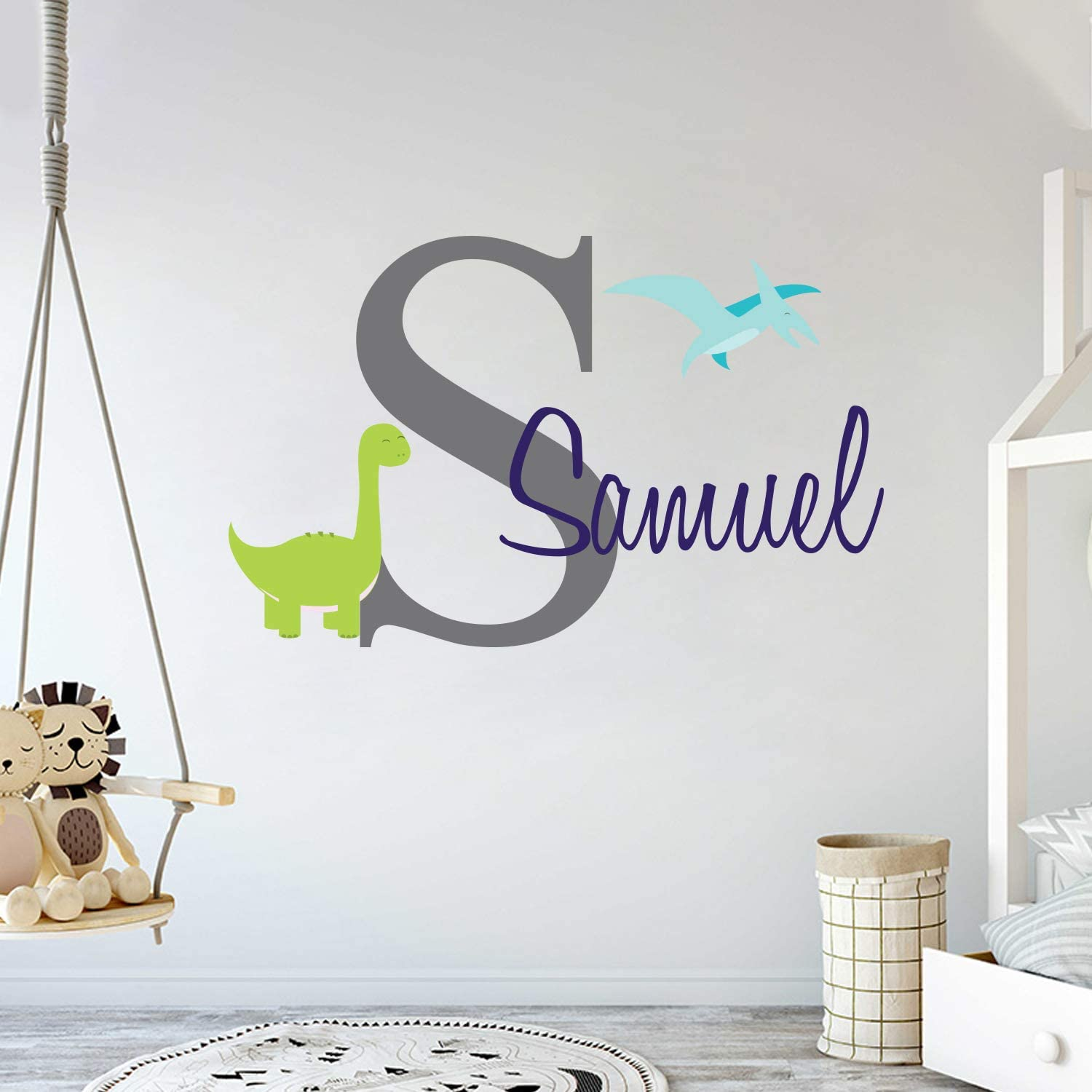 Custom Name & Initial Dinosaurs Animal Series - Baby Boy - Nursery Wall Decal For Baby Room Decorations - Mural Wall Decal Sticker For Home Children's Bedroom (MM103) (Wide 32